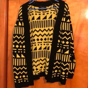 Forever 21 Neon Yellow and Black Cardigan Sweater